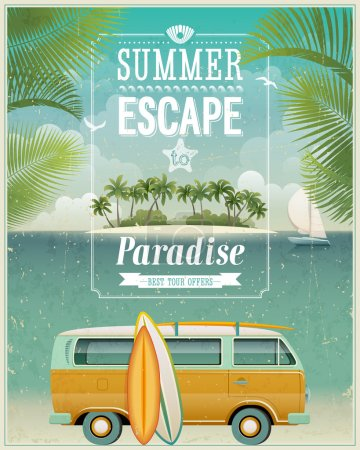 Photo for Vintage seasiVintage seaside view poster with surfing van. - Royalty Free Image