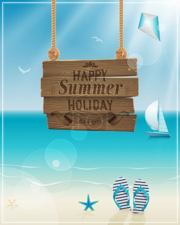 Beautiful seaside view poster. Vector background.
