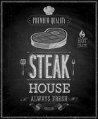 Vintage Steak House Poster - Chalkboard Vector illustration