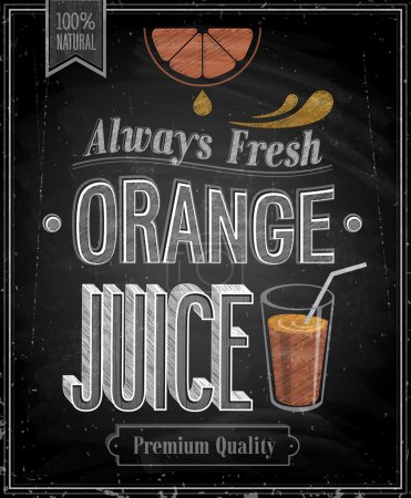 Illustration for Vintage Orange Juice - Chalkboard. Vector illustration. - Royalty Free Image