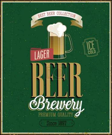 Illustration for Vintage Beer Brewery Poster. Vector illustration. - Royalty Free Image