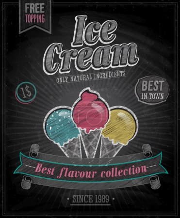 Illustration pour Affiche de crème glacée vintage - Tableau noir. Illustration vectorielle . - image libre de droit