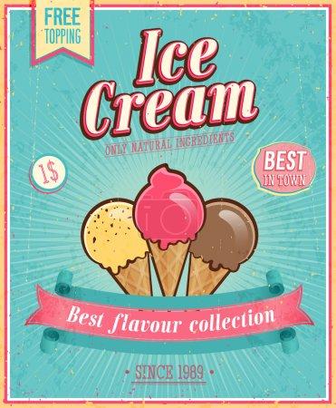Illustration pour Affiche de crème glacée vintage. Illustration vectorielle . - image libre de droit