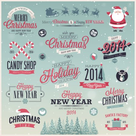 Christmas set - labels, emblems and other decorative elements.