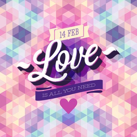 Illustration for Valentines day Poster. Vector illustration. - Royalty Free Image