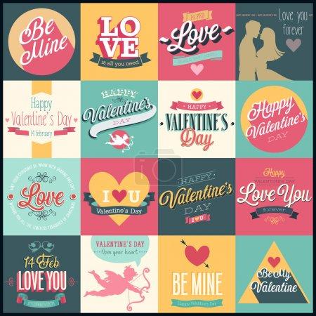 Illustration pour Set Saint-Valentin - étiquettes, emblèmes et autres éléments décoratifs . - image libre de droit