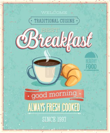 Vintage Breakfast Poster. Vector illustration....