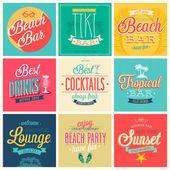 Beach Bar set - labels emblems and other decorative elements