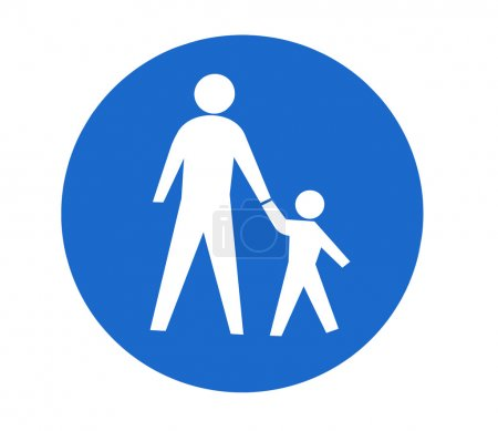 Traffic sign for pedestrians on a white background...
