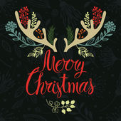 Christmas antlers postcard cover design Calligraphy and forest