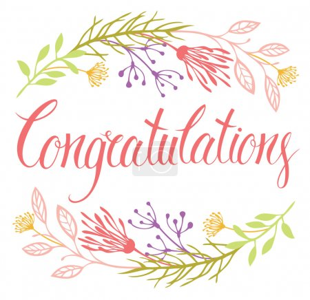 Congratulations card with flowers and calligraphy