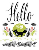 Hello postcard cover design Happy fox and forest herbs arrows