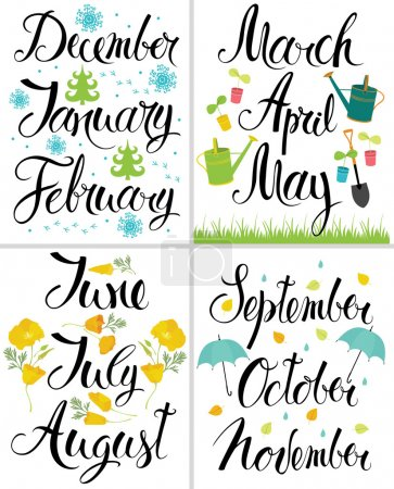 Spring, Autumn, Winter, Summer. Month of the year. Calligraphy