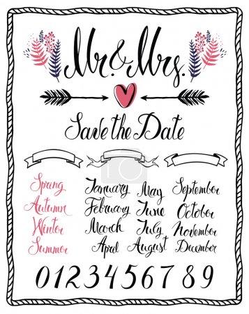 Illustration pour Ensemble d'éléments de conception calligraphique, Mr & Mrs, mois, nombres et saisons - image libre de droit
