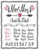 Calligraphic design elements Mr & Mrs months numbers and seas