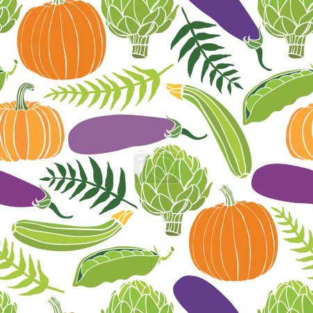 Fresh vegetables seamless background, pumpkins, peas, artichokes