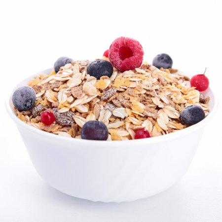 Bowl of cereals and berries fruits