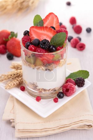 Yoghurt, cereals and fruits