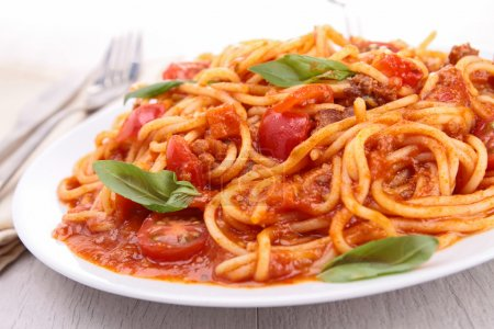 Photo for Plate of spaghetti and tomato sauce - Royalty Free Image