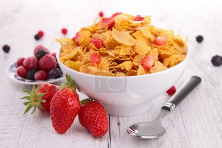 Photo for Bowl of cereal with berries fruits - Royalty Free Image