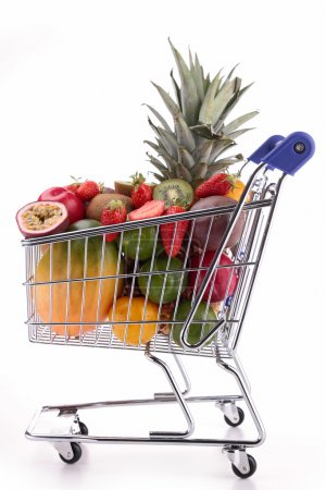 shopping cart with fruits