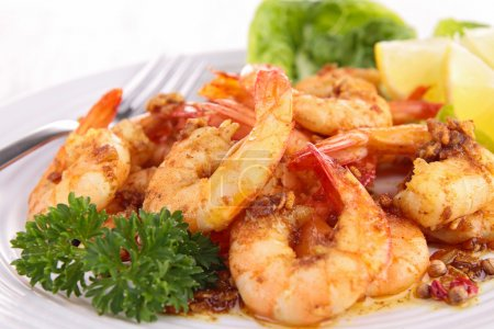 Photo for Close up on cooked shrimp and parsley - Royalty Free Image