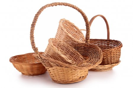 Photo for Isolated assortment of wicker basket on white - Royalty Free Image
