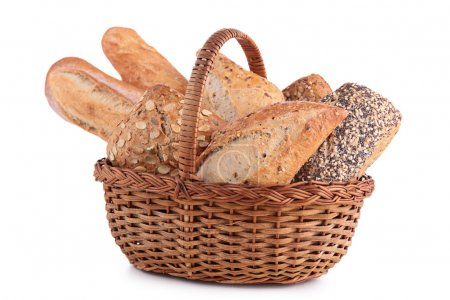 Photo for Wicker basket with baking products - Royalty Free Image