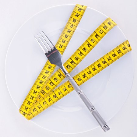 Measuring tape on plate
