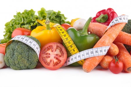 Photo for Vegetables diet meter on white background - Royalty Free Image