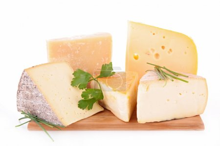 Photo for Assortment of cheese on cutting board - Royalty Free Image