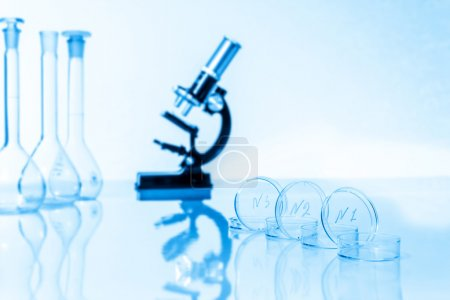 microscope and test tubes used in research laboratory