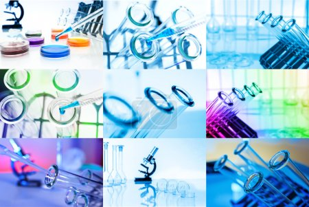Collage of Test tubes closeup. Laboratory glassware
