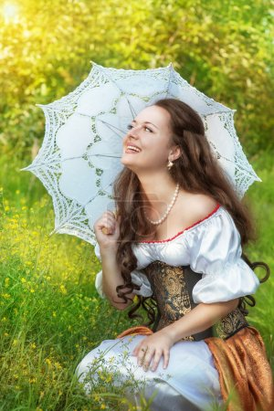 Laughing woman in vintage dress
