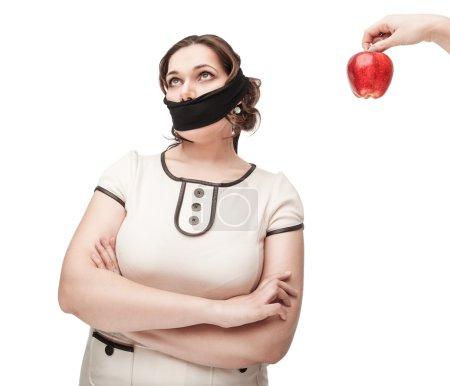 Plus size woman gagged refusing healthy food