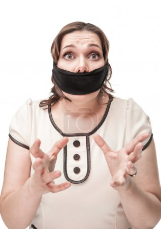Plus size woman gagged and scared
