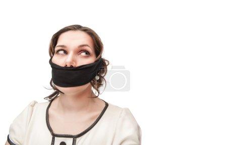 Plus size woman gagged