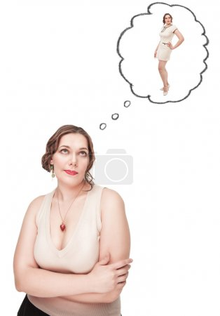 Plus size woman dreaming about slim herself