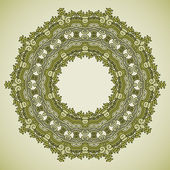 Ornamental colorful round floral ethnicity lace pattern mosaic vector stained glass