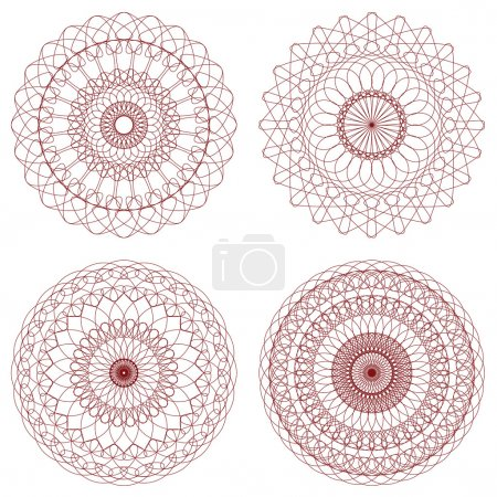 Illustration for Set of Red Vector Guilloche Rosettes Certificate or Diplomas, Decorative Elements, Interesting Solutions for Your Design - Royalty Free Image