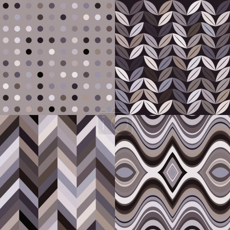 Illustration for Set of Vector Seamless Abstract Backgrounds, Retro Gray Patterns - Royalty Free Image