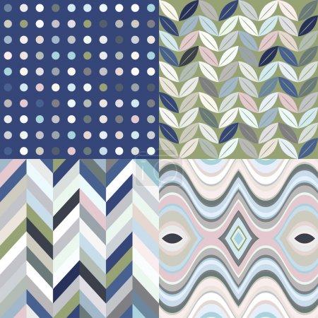 Illustration pour Ensemble de décors abstraits sans couture vectoriels, motifs multicolores rétro - image libre de droit