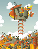 vertical illustration with dirigible