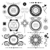 Vintage labels vector set and different calligraphic design elements