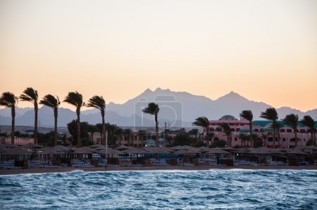 View of the beach and mountains in the distance. Hurghada, Egypt