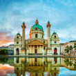 Karlskirche in Vienna, Austria in the morning at s...