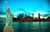 """Постер, картина, фотообои """"Нью-Йорк городской пейзаж на закате"""""""