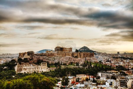 Photo for Acropolis in Athens, Greece in the evening at sunset - Royalty Free Image
