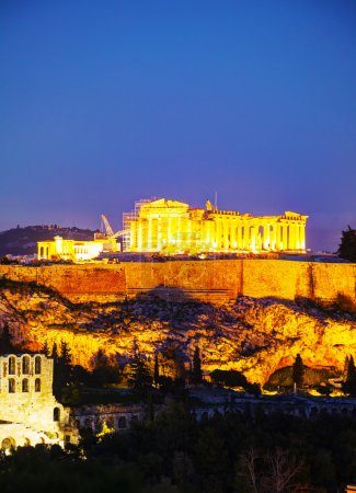 Photo for Acropolis in Athens, Greece in the evening after sunset - Royalty Free Image