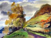 """Постер, картина, фотообои """"Осенний пейзаж нарисованный акварель"""""""